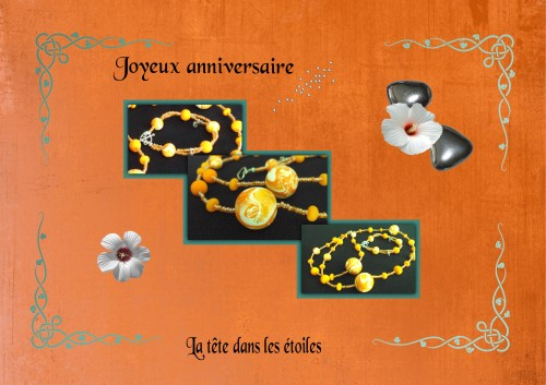 parure,collier,bracelet,mokumé,orange